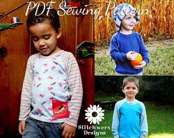 KIDS T SEWING Pattern, Unisex Kids Clothes Sewing Pattern, Kids Digital Sewing Pattern, Kids Clothes Pdf Pattern, Raglan T Tunic Sweatshirt