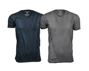 2-Pack 100% Cotton Made in the USA Hand Dyed Sueded Semi-fitted V-Neck T-Shirt