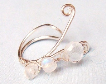 BRIDAL EAR CUFF - Sterling Silver and Moonstones