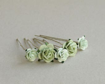 Celadon Green Flower Hair Pins - Set of 5 - Made of mulberry paper flowers and U pins