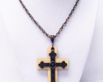Antique Bronze Plated/Wood Cross Pendant Necklace (Ideal for Men)