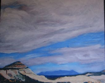 Beyond Boulder - ORIGINAL Oil Painting on Panel - Clouds - Sky - Mountains -Gray - Blue - Special Price