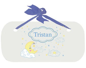 Personalized Boys Door Sign with Moon and Stars Design WPLAQ-blu-243