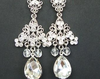 Statement Wedding Earrings, Vintage Chandelier Bridal Earrings, Art Deco Wedding Jewelry, Crystal Wedding Jewelry, KENDRA