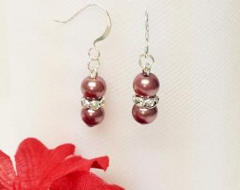 Antique Mauve Pearl Earrings - Traditional Bridesmaid Earrings - 6mm Rondelle Rhinestone Flower Girl Earrings