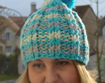 Blue Hand Knitted Winter Hat