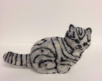 Needle Felted Wool Cat, Gray Tabby