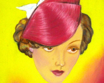 Vintage 1930s portrait drawing chalk or pastel of a woman With hat