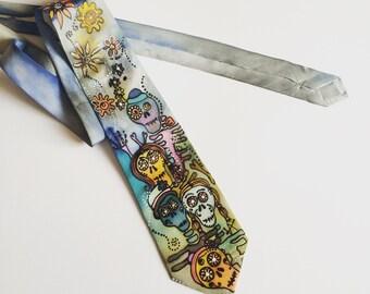 Designer silk Tie - Mens cool Tie - cool wedding tie hand-painted - Santa Muerte - Helloween