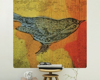 Warbler Bird Rustic Engraving Wall Decal - #62986