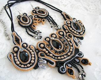 Black jewelry set Evening jewelry Prom jewelry Black necklace Black earrings Gothic jewelry Beaded jewelry