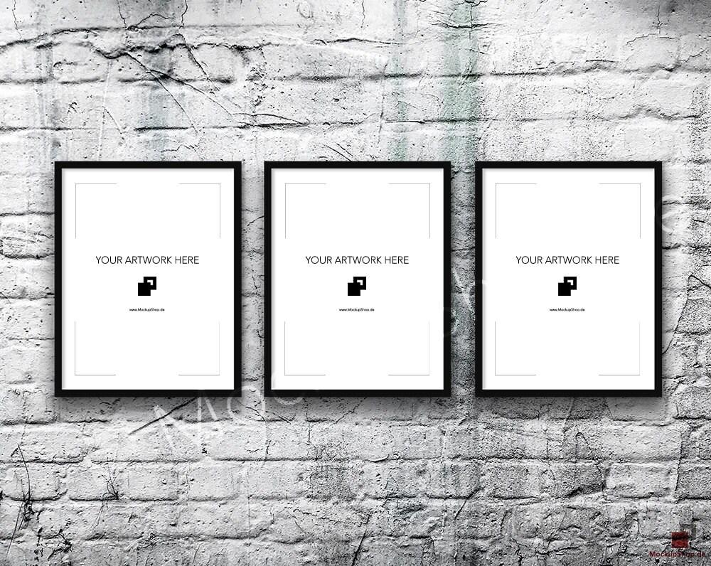 11x14 set of 3 frame mockup black poster mockup old brick zoom jeuxipadfo Gallery