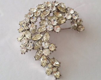1960s Crown Trifari Alfred Philippe Silver Tone Floral Brooch