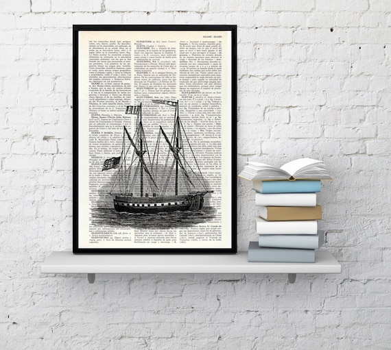 BOGO Sale Antique ship printed on  Dictionary Page, Sea life art,  Wall decor Ship art, Sea shore house decor, wall hanging SEA010