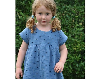 Girl Baby Girl Dress sewing pattern Pdf, BLUE TIT Woven Dress, Short and Long Sleeve, Toddler dress, newborn dress 0 - 10 years