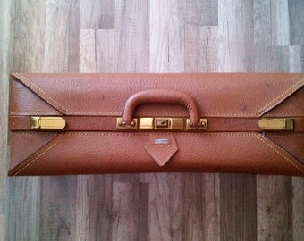 Carson Quality Luggage Mid Century Large Brown Leather Suitcase with Plaid Fabric Lining - Monogram Initials K J C