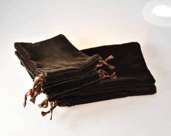 6 pcs Natural Velvet, Chocolate Color Gift Pouches, Jewelry Bags