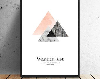 Poster, Wanderlust, pink/grey or gold/black, decoration, wall decoration, print, illustration, travel, graphic, textures, abstract