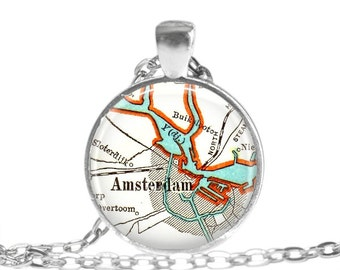 The Netherlands Necklace Pendant Charm, Amsterdam, Netherlands map necklace jewelry, Amsterdam Gift