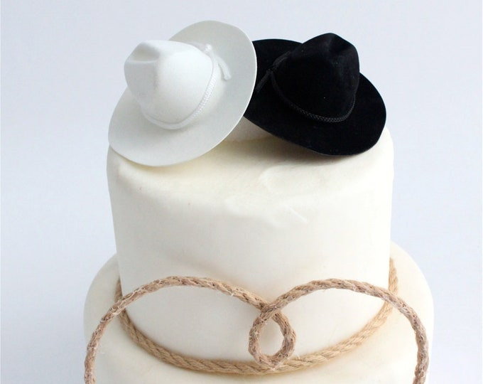 Featured listing image: Cowboy Cowgirl Hat Cake Topper, White and Black, Country Wedding, Decoration, Craft, Party Favor, Mini, Miniature, OverTheTopCakeTopper