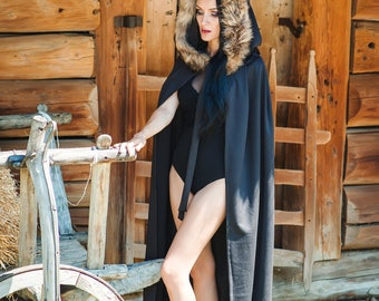 Black Cape with Hood and Real Fox Fur