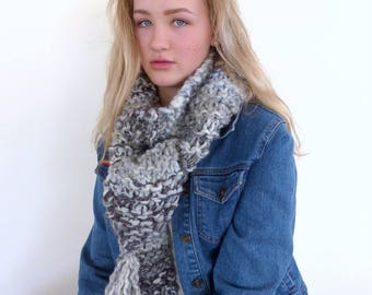 Chunky Scarf , Chunky knit scarf  Denim blue scarf  Grey knitted scarf