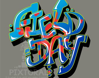 Field Day:  Kids Tee Shirt Design in Corel and EPS formats as Vector, High Rez PNG