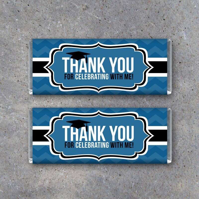 Graduation THANK YOU Candy Bar Wrapper In Blue Instant