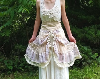 Peasant Boho Upcycled Wedding Gown Ecru Cream Champagne layered Over-Skirt Vintage Lace and Glass Beads Flowers Sheer Uneven Hem Gold Sash