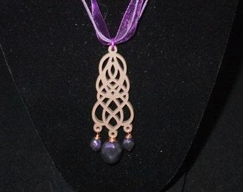 Purple Filigree on Purple Ribbon