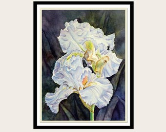 Iris Flowers Giclee Print, Watercolor Painting Print, 5x7, 8x10,  Flower, Blue, Purple, White, Floral Painting, Botanical