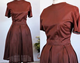 Vintage 1950s 1960s Brown Dress  / Fit And Flare Day Dress / Chocolate Brown 50s Nylon Dress / Casual Dress