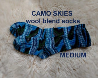 Camo Skies Socks --- washable wool blend --- MEDIUM