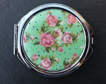 Vintage 1990s - Pink Roses Print Acrylic-Topped Double-sided Handbag Mirror With 3X Magnifying Mirror