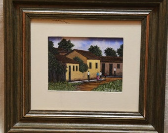 Maria Usoria Oil Painting Town in the Country 9 by 8 inches