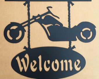 Motorcycle Welcome Metal Wall Art  (A0)