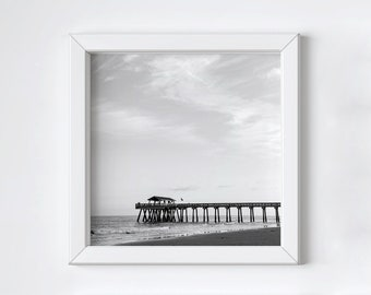 Coastal pier print - Large art - Black and white photograph - Tybee Island - Ocean beach print - Fathers Day photo gift - Square 20x20+ inch