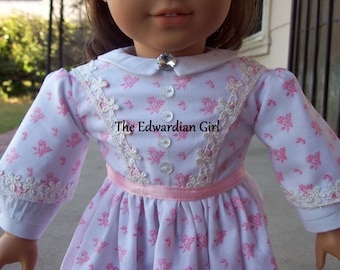 Two of a kind pink and white 1860's era doll dress pink ribbon for 18 inch play dolls such as American Girl, Springfield, OG. Made in USA
