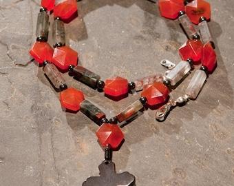 Hemalyke Cross on Carnelian, Hemalyke, and Bloodstone Necklace