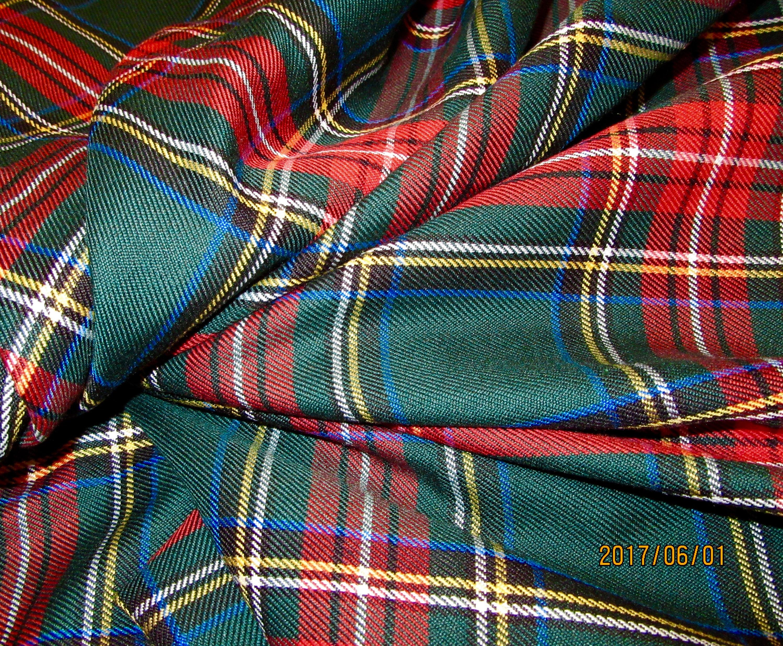 Green Stewart Tartan Plaid FabricBy Yard Fabric Green Red
