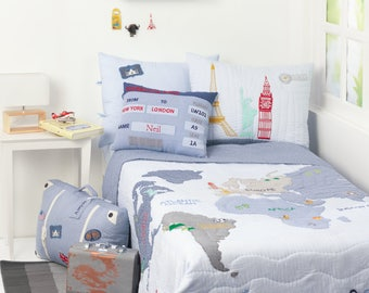 Kids bedding etsy around the world blue kids bedding set kid room decor world publicscrutiny Image collections