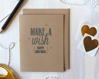 Rustic Kraft Make A Wish Happy Birthday Card / Happy Birthday Card / Rustic Birthday Card / Birthday Card / Stationery / Stationary