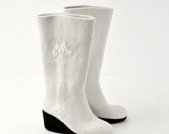Summer Sale Felted boots from softest merino wool -8US (38 EU) women -white- natural white- ready to ship - rubber soles- OOAK