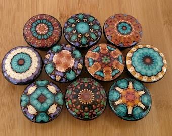 Cairo Mandala Turquoise Wood Drawer Knobs on Cherry Wood Knob, Dresser knob, Kitchen pull, Drawer Pull, Kitchen Wood Knob Size 1.5