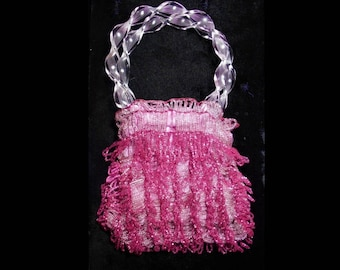 Beaded Fuchsia Roaring 20s Flapper Miser Purse, Shiny Fucshia & Dangling Tassels, Holds Coins, DANCE CARDS, 100 Years Old, Celluloid Handles