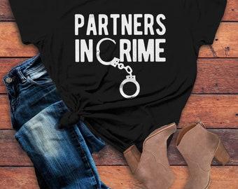 Women's Partners In Crime T Shirt Best Friends Shirt Matching Shirts Handcuffs Tee Gift Idea