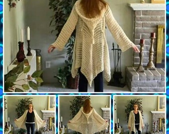 Includes 2 Patterns for Glenda's Hooded Gypsy Cardigan: women's sizes 5/6-11/12 and womens sizes 16-2X INTERMEDIATE LEVEL CROCHET