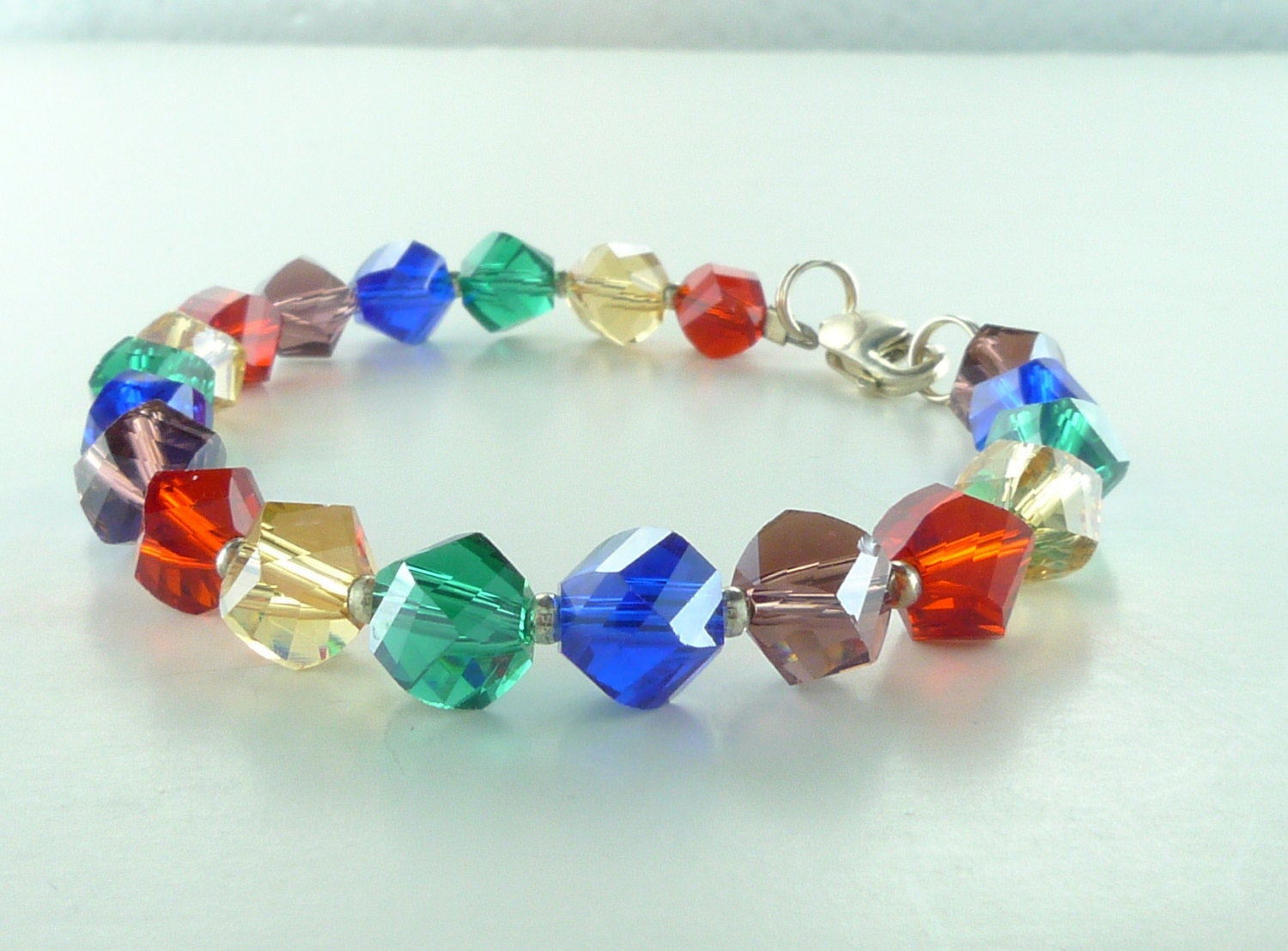glass bracelet multi shopping shop bead new special small dzdjewelry stackable colored etsy chunky stretch colorful