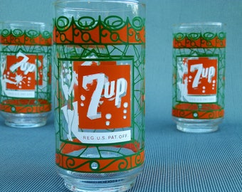 4 Tiffany Style 7-UP glasses--1970s