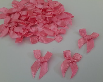 100 mini Satin Ribbon Bow Applique Embellishments Pink Bows 7mm